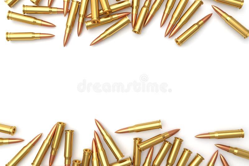 堆在白色背景的子弹 皇族释放例证