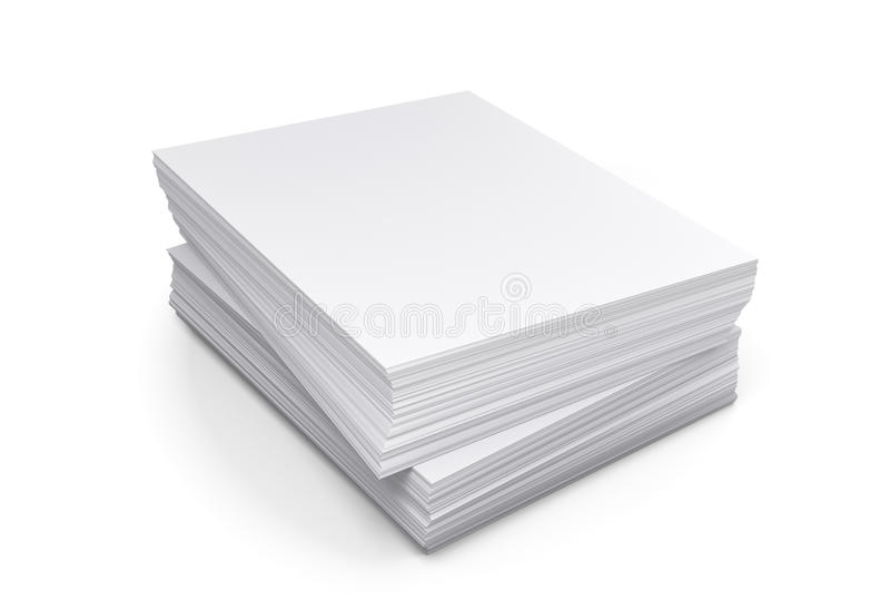 堆在白色背景的纸 库存例证