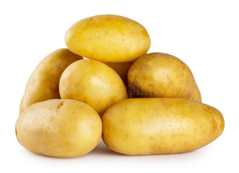 堆在白色背景的年轻土豆 图库摄影