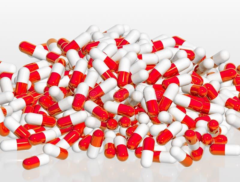 堆在白色背景, 3d的红色和白色药片胶囊烈 皇族释放例证
