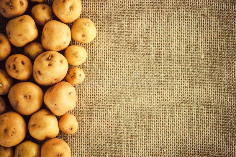 堆在粗麻布大袋的土豆 免版税图库摄影
