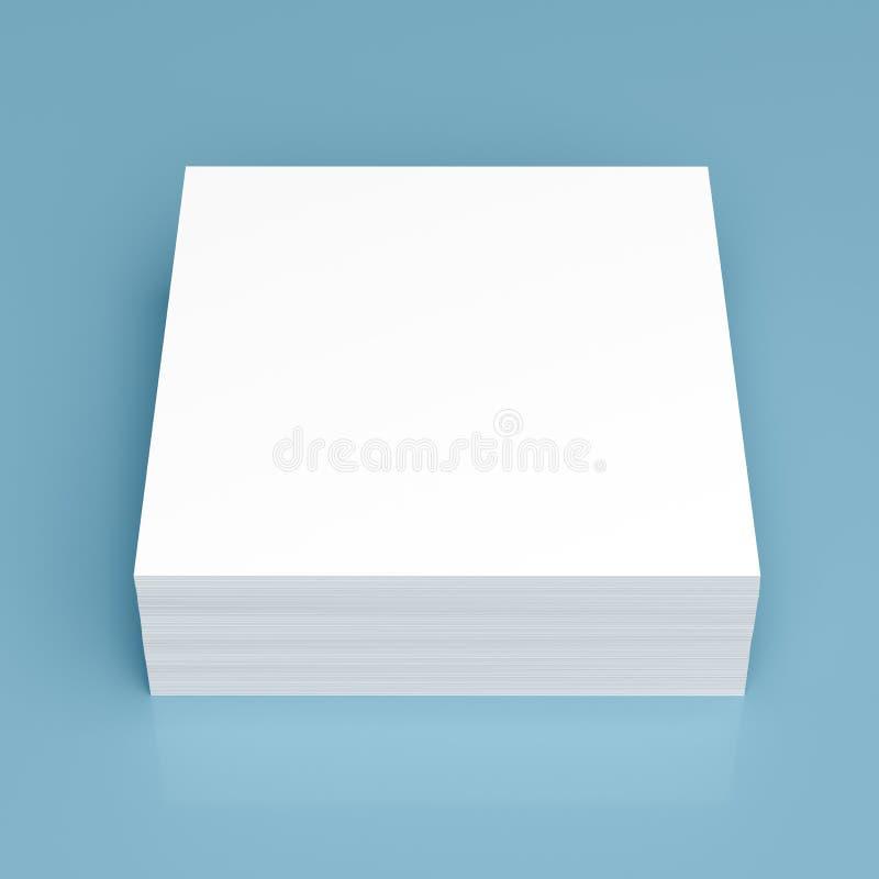 堆在蓝色背景的白皮书 免版税库存图片
