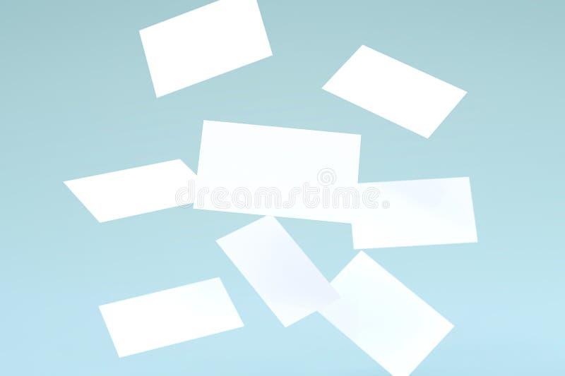 堆在蓝色背景的落的空白的白色名片大模型 库存例证