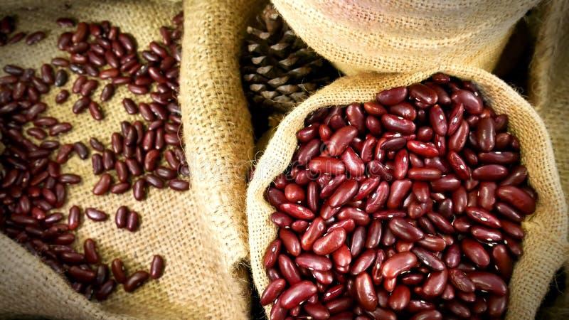 堆在被编织的大袋袋子的红色扁豆 库存图片