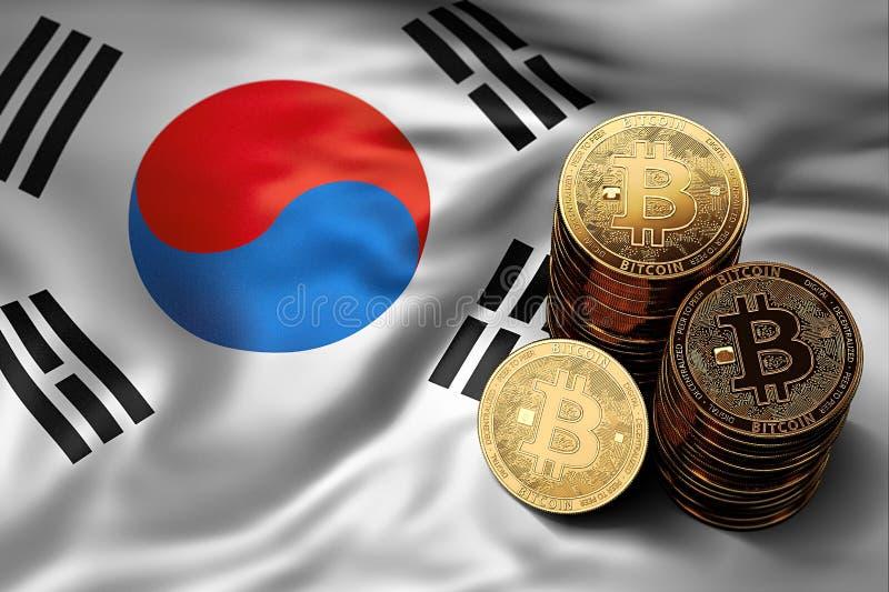 堆在韩国旗子的Bitcoin硬币 Bitcoin和其他cryptocurrencies的情况在韩国 库存例证