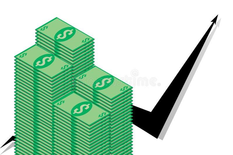 堆在黑图表背景的美金  向量例证
