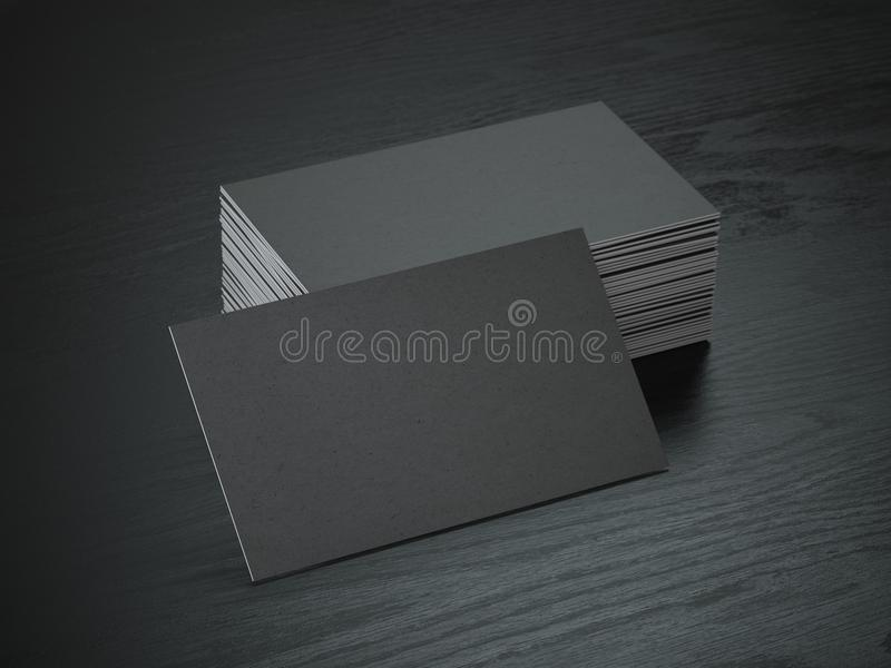 堆在黑木桌b上的黑空白的名片大模型 向量例证