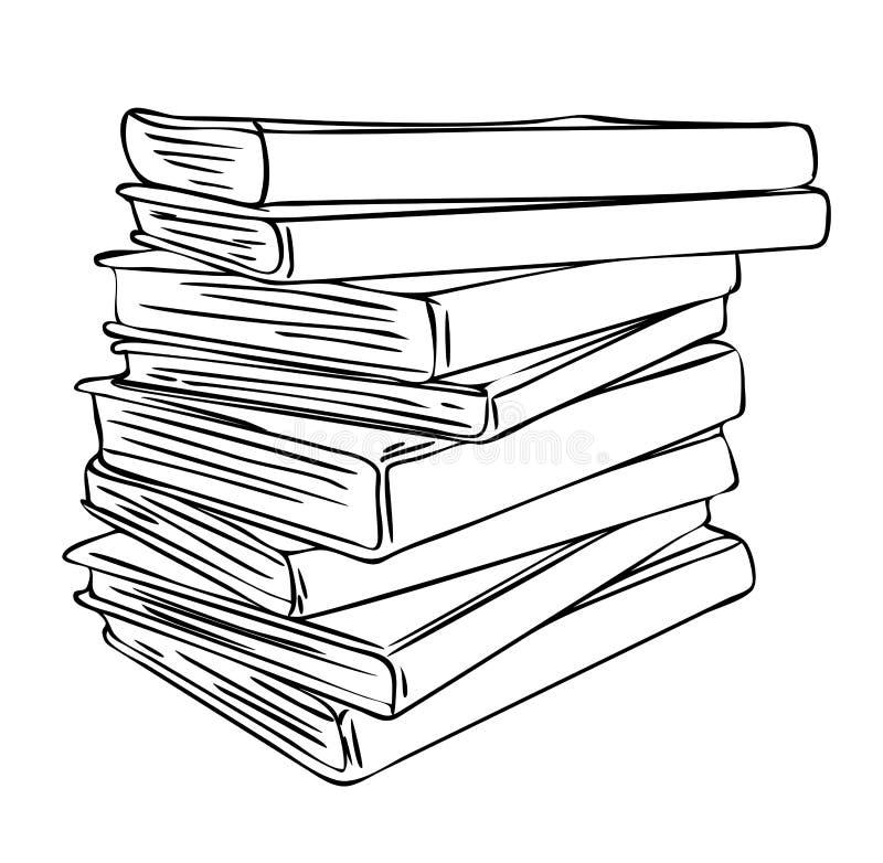 堆在黑白颜色的散漫的被折叠的各种各样的书,概述手画图画 向量例证