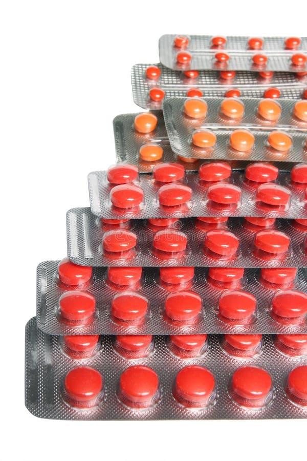 堆在水泡的药片 免版税库存照片