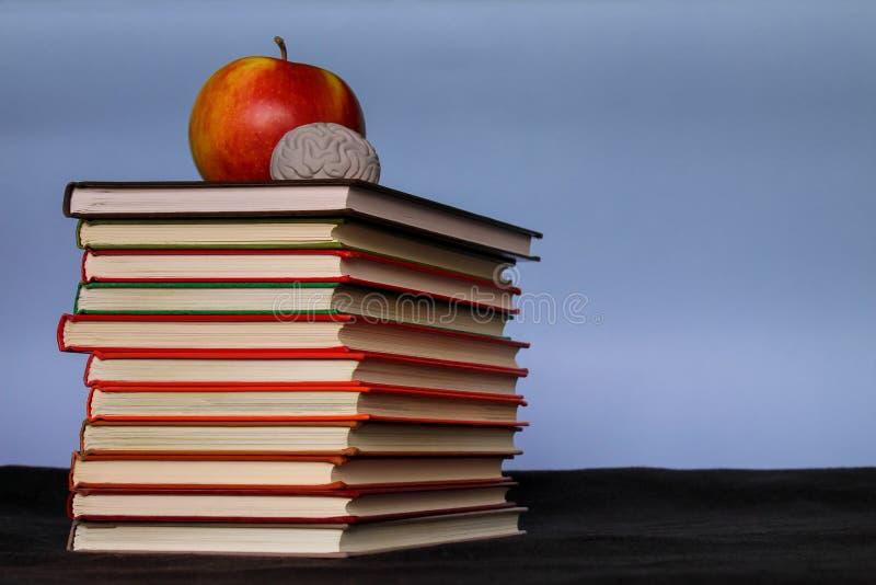 堆堆书用在顶面开会的红色苹果在一个桌面上,回到学校概念,设计观念,拷贝文本空间,蓝色 免版税库存照片