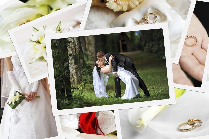 堆婚礼照片 免版税库存照片