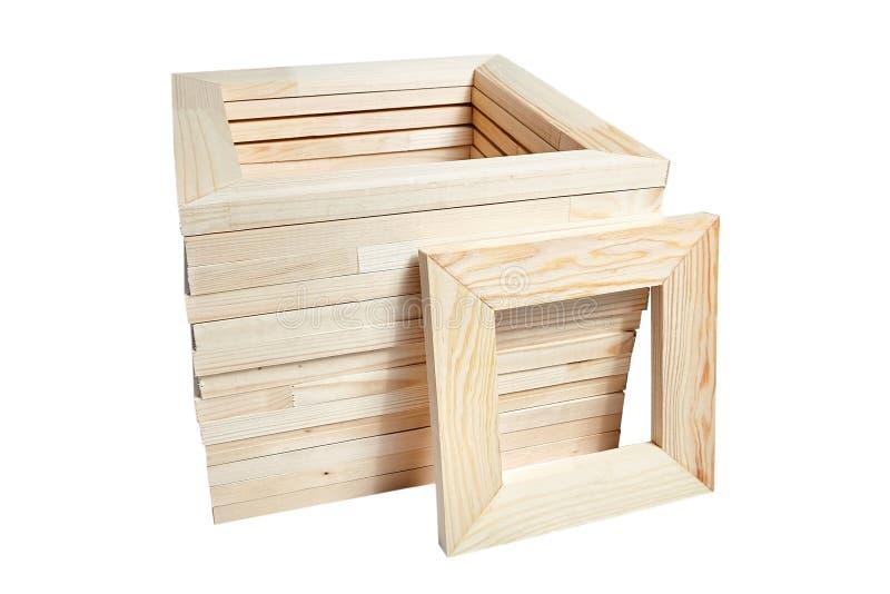 堆方形的木担架酒吧框架 免版税图库摄影