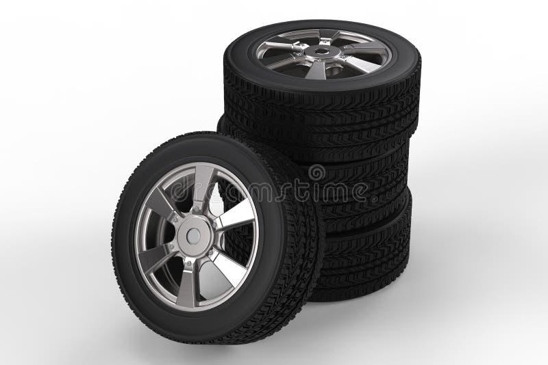堆有合金轮子的黑轮胎 库存照片
