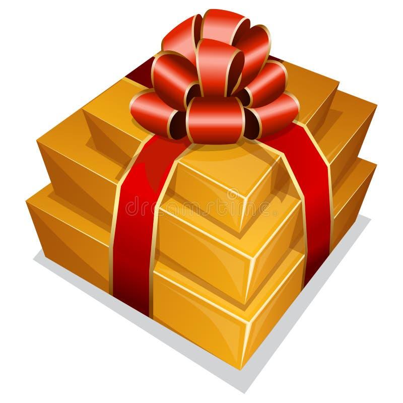 堆有弓的礼物盒 向量例证
