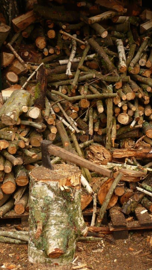 堆木材的棚在3月 免版税库存图片