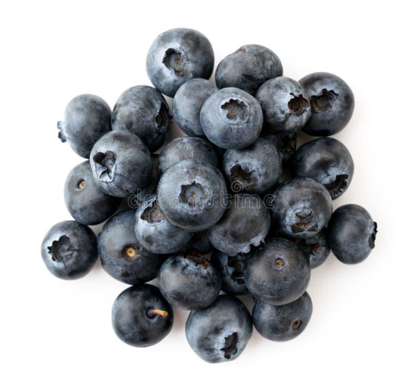 堆束在白色的成熟蓝莓 上面的看法 库存照片