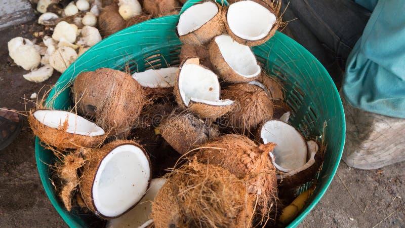 堆椰子壳 免版税库存图片