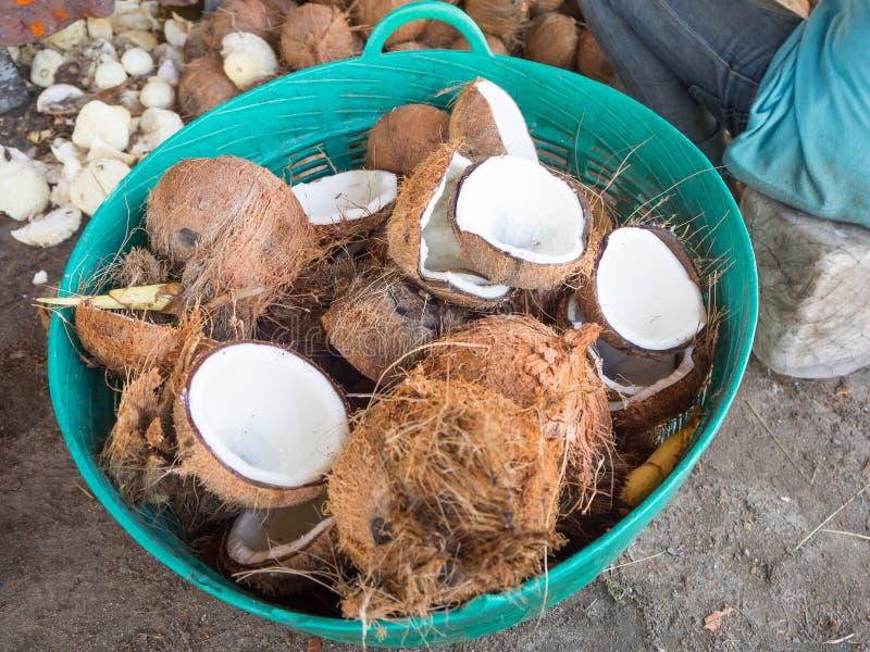 堆椰子壳 库存照片