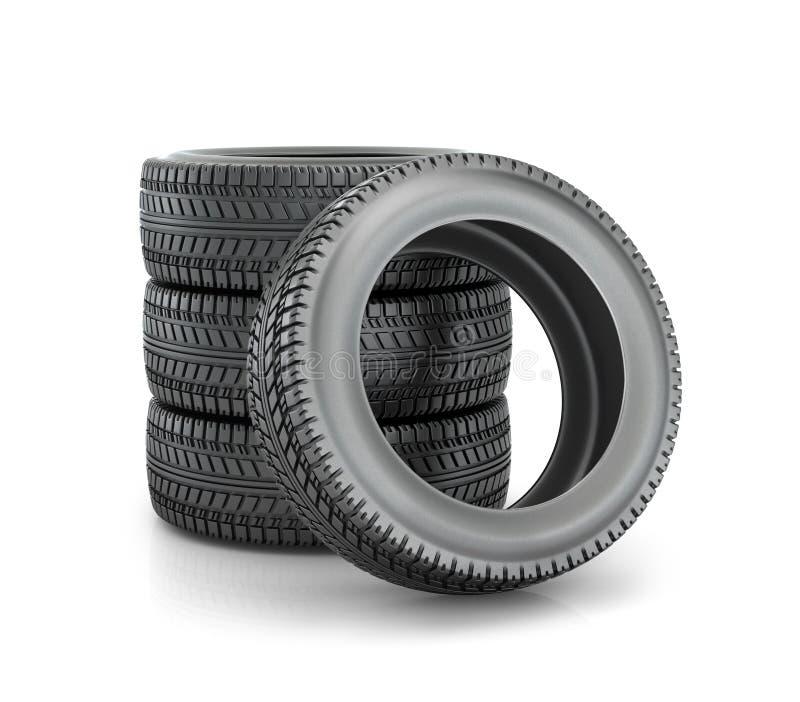 堆汽车的四轮新的黑轮胎 皇族释放例证