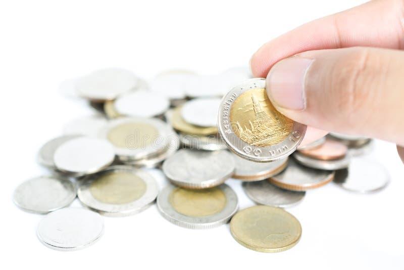 堆泰国浴硬币 库存图片