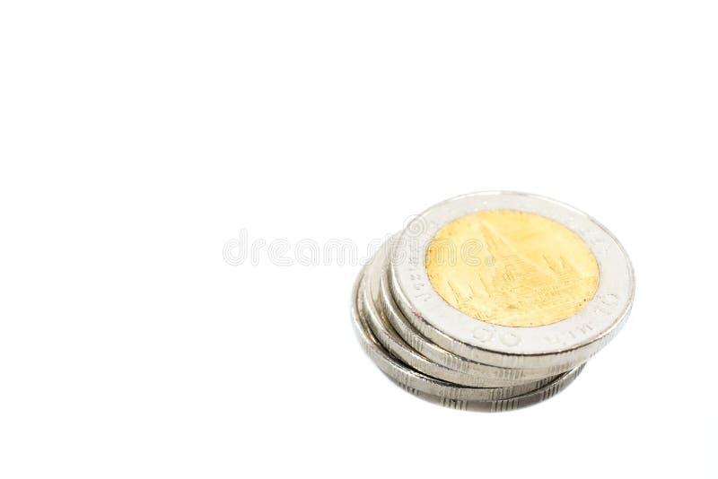 堆泰国浴硬币 免版税图库摄影