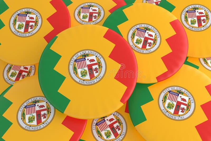 堆洛杉矶,加利福尼亚旗子徽章,3d例证 免版税库存照片