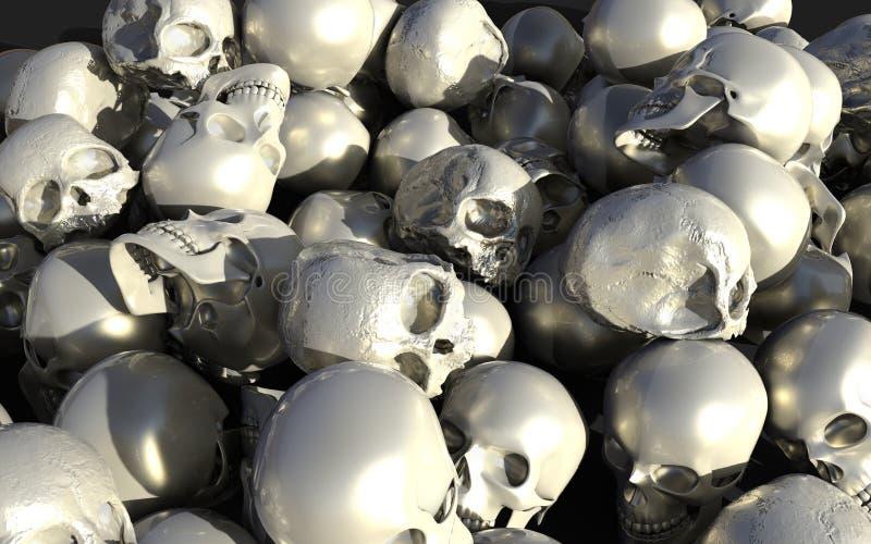 堆白色和银色光滑的头骨 库存例证