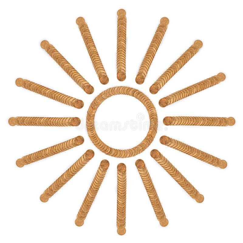 从堆的太阳硬币硬币 库存照片