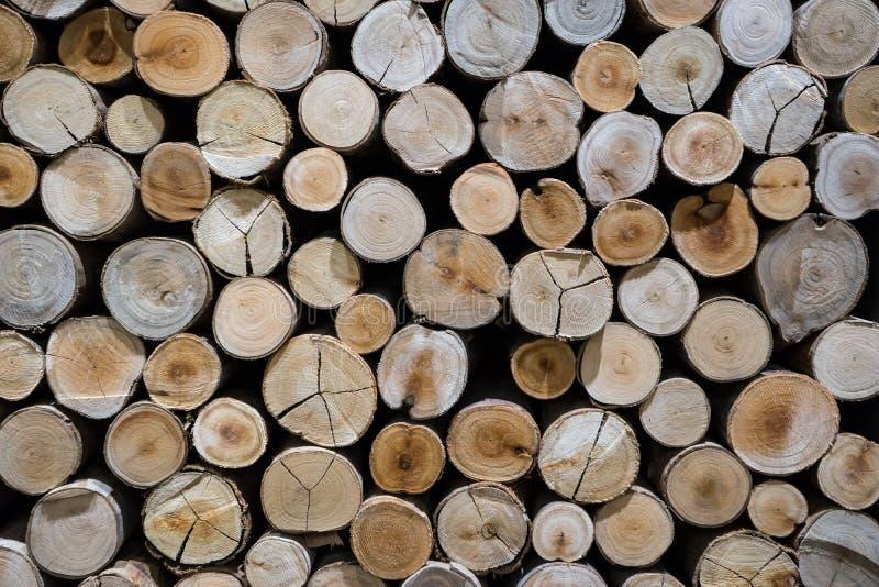 堆的特写镜头被削减的木材背景 免版税图库摄影