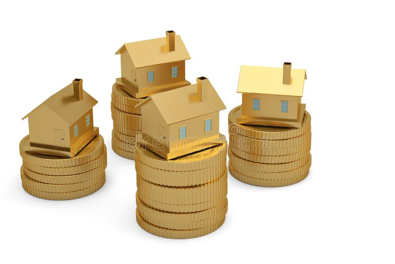 堆的金黄房子在白色背景3D illustra的硬币 向量例证