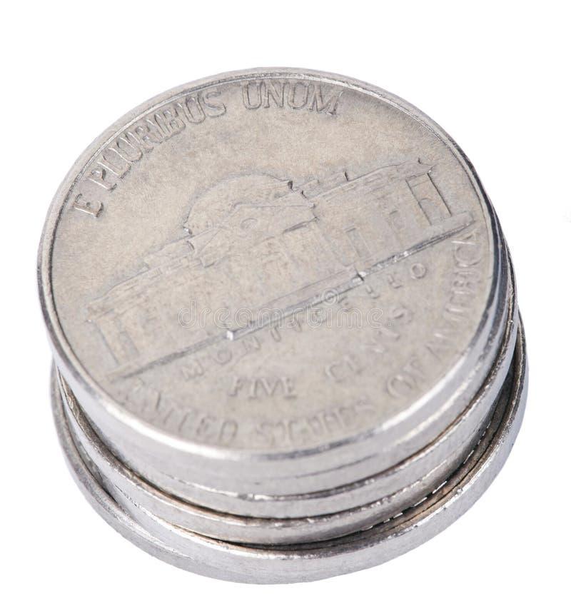 被隔绝的五分硬币堆 库存图片