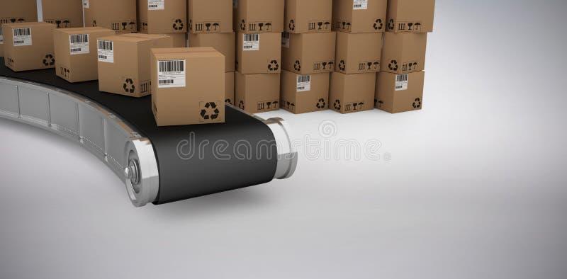 堆的综合3d图象由传送带的纸板箱 库存例证