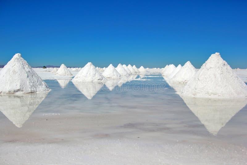堆盐在撒拉族de Uyuni 库存图片