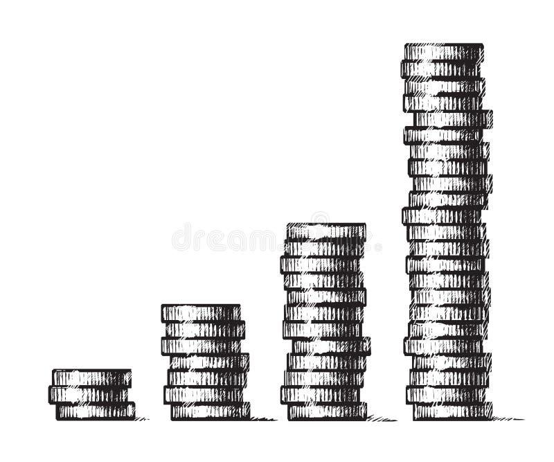 堆硬币 经济增长,企业成功的概念 在剪影样式的手拉的传染媒介例证 ?? 库存例证