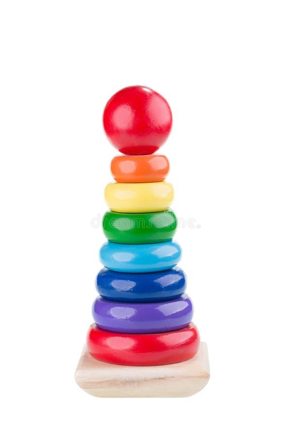 堆积圆环玩具的金字塔 库存照片