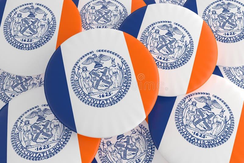 堆纽约,纽约旗子徽章,3d例证 免版税图库摄影