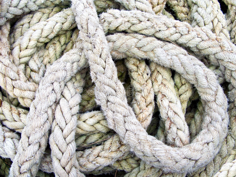 堆绳索船 库存图片