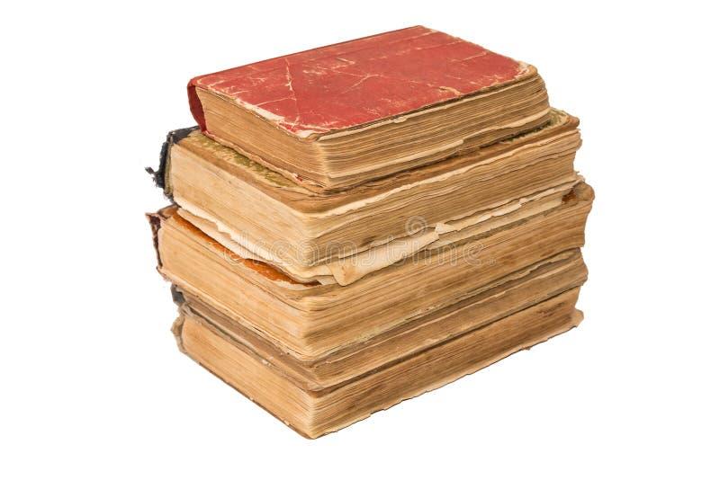 堆老被撕碎的书 葡萄酒被撕毁的书 被隔绝的古董 免版税图库摄影