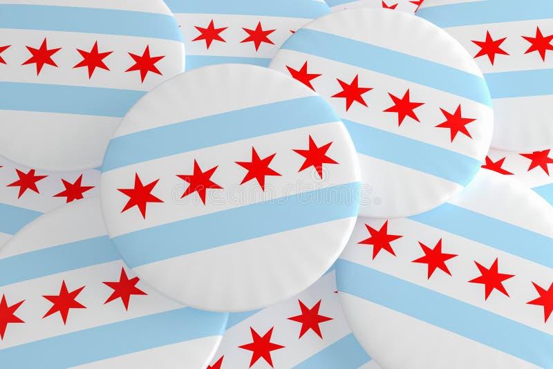 堆芝加哥,伊利诺伊旗子徽章,3d例证 库存照片
