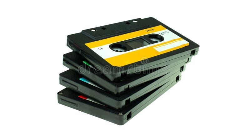 堆葡萄酒紧凑盒式磁带 库存照片