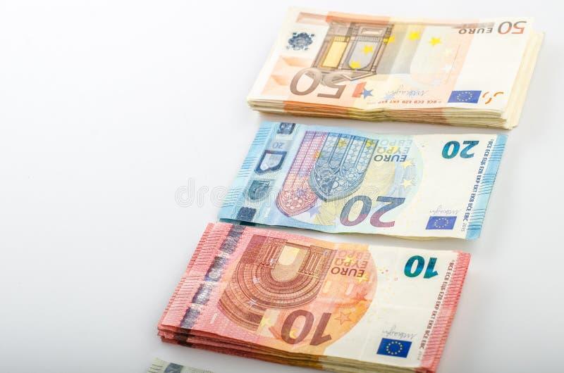 堆许多欧洲钞票 库存照片
