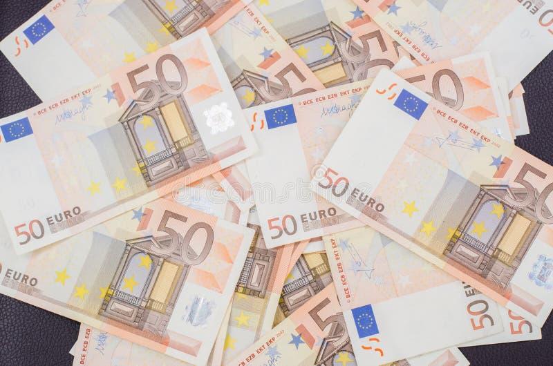 堆许多50张欧洲钞票 库存照片