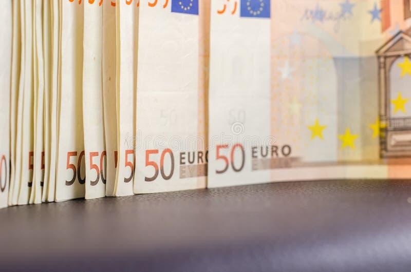 堆许多50张欧洲钞票 图库摄影