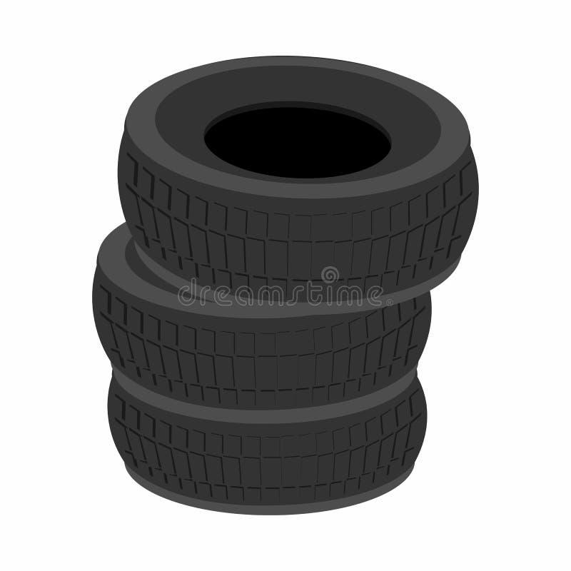 堆车胎动画片象 库存例证