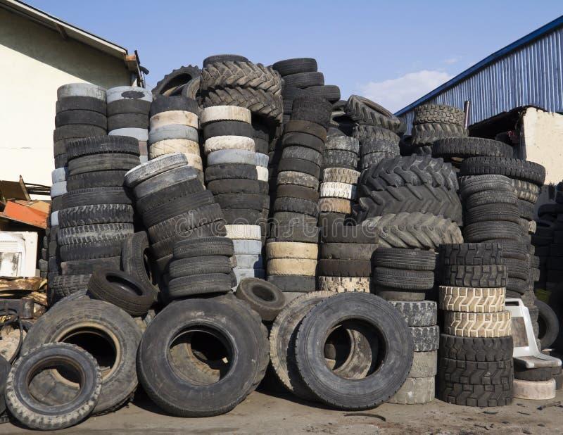 堆轮胎使用了 免版税库存图片