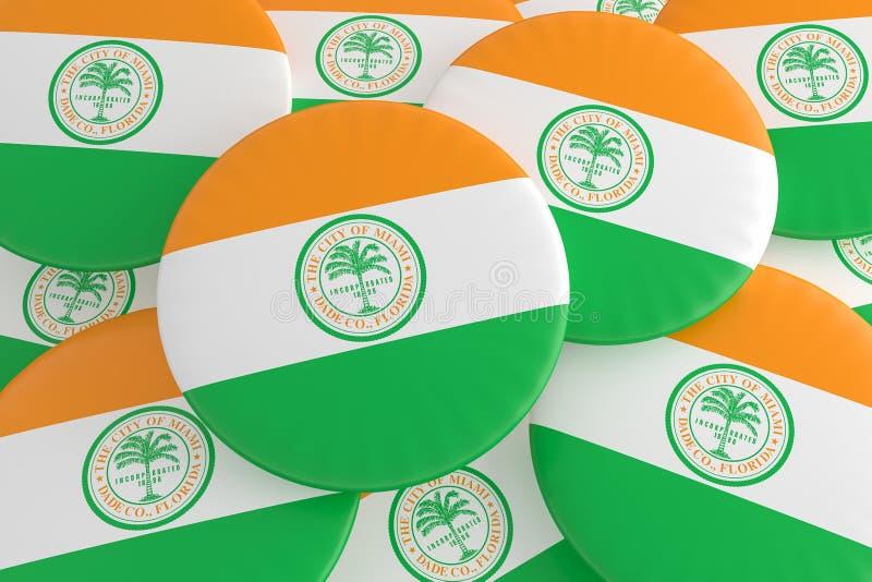 堆迈阿密,佛罗里达旗子徽章,3d例证 免版税图库摄影