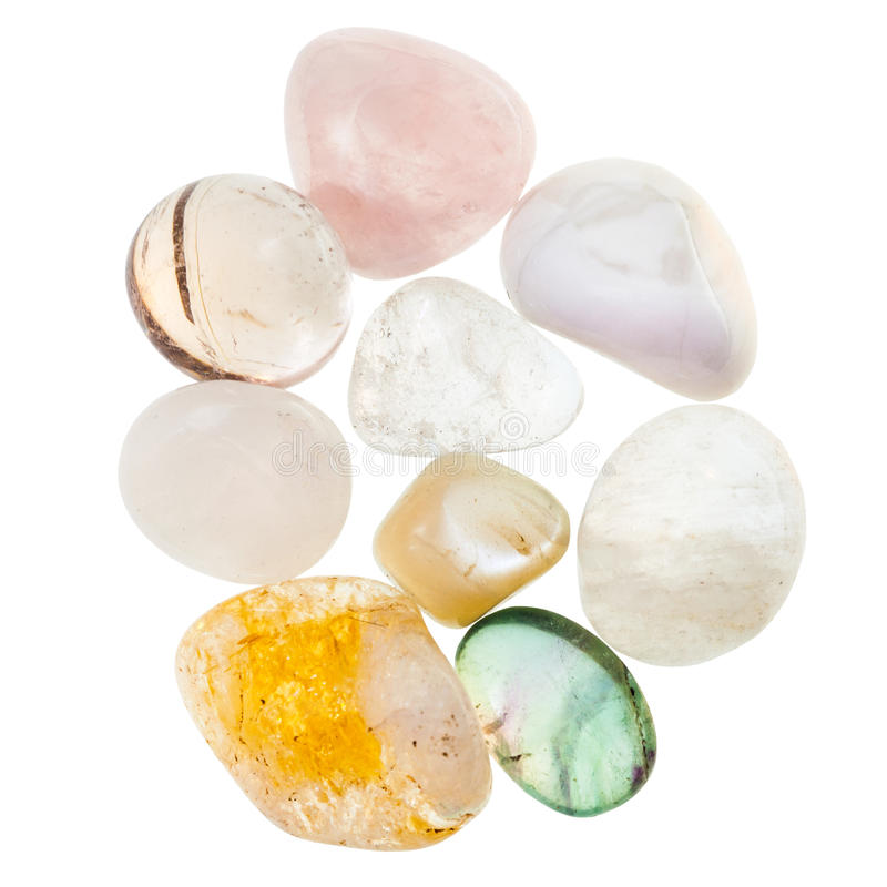 堆透明自然矿物宝石 免版税库存图片