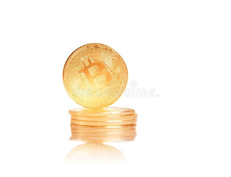 堆金币bitcoins 免版税库存照片