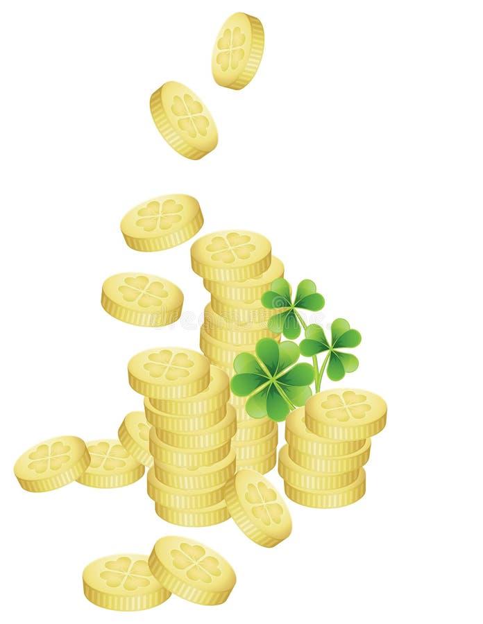 堆金黄硬币 皇族释放例证