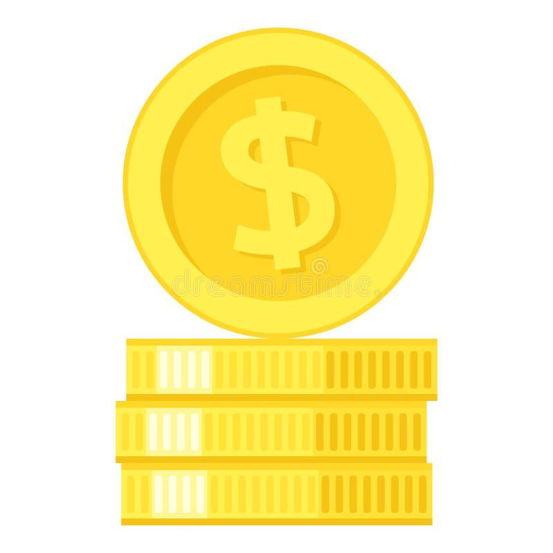 堆金黄在白色的硬币平的象 皇族释放例证